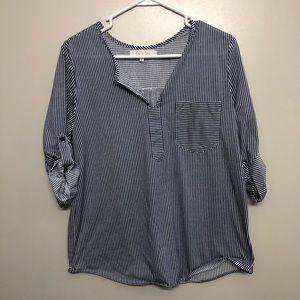 Eden&Oliva blouse striped blue white medium